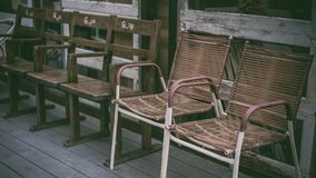 Vintage Comfortable Outdoor Wooden Chair Photos stock photography