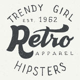 Retro apparel label typographic design. Retro apparel label. Hand drawn typography design for hipsters apparel and t-shirts in vintage style Stock Photography
