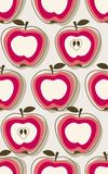 Retro apple pattern. Repeat retro pattern with stylized apples Stock Photography
