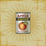 Retro Apple Sauce Can. In woodcut style. Decorative illustration stock illustration