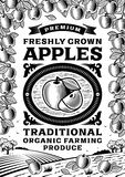 Retro apples poster black and white Royalty Free Stock Photo