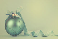 Retro aqua blue Christmas tree ornament Royalty Free Stock Photo