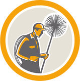 Retro arbetare för lampglassvep stock illustrationer