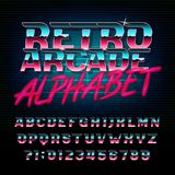 Retro arcade alphabet font. Metallic effect shiny oblique letters and numbers. Vector typeface for your design Stock Photo