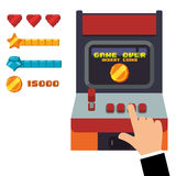 Retro arcade game console joystick Stock Photo