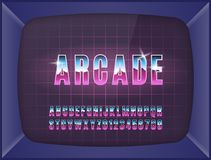 Retro arcade game machine. Screen background and font. Background in style arcades the 80s. Vector illustration Vector Illustration