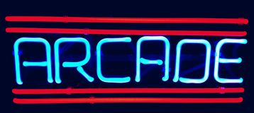 Retro arcade neon sign stock photos