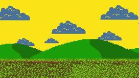 Retro Arcade Video Game Walking Level in Nature stock footage