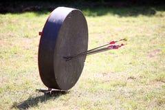 Retro archery target with arrows Royalty Free Stock Photos