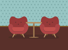 Retro armchairs. Retro red armchairs . Flat design vector Stock Images