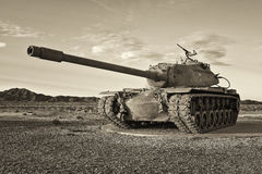 Retro Army Tank. Old Army tank in the desert Stock Image