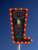 Retro arrow golden light banner with the hotel blue background Stock Photo