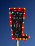 Retro arrow light banner karaoke blue background Royalty Free Stock Images