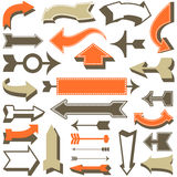 Retro Arrow Set. Set of retro arrow designs.  Each element is grouped for easy editing.  Colors are global swatches Stock Photo