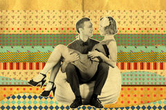 Retro art collage with couple Royalty Free Stock Photo