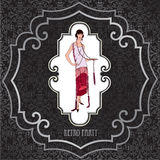 Retro art-deco background. Girl in 1930s Fashion Style. Retro party invitation design. Flapper girl over vintage background with copy space in 1920s style Royalty Free Stock Photo