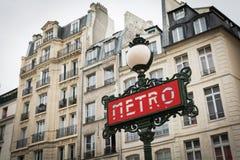 Retro art deco Metro sign in Paris France. Retro Metro sign in Paris France royalty free stock photo