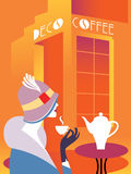 Retro art deco woman sitting at an street cafe. Woman drinking coffee. On the table hot coffee maker. Lettering signboard Deco Cof Stock Image