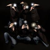 Retro- Art-Paparazzi-Fotoreporter Lizenzfreies Stockfoto