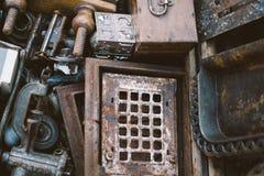 Retro arte antica di architettura del ferro del fondo del metallo Immagini Stock Libere da Diritti