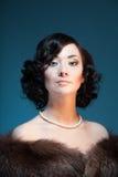 Retro- Artfarbenportrait einer Frau Stockbild