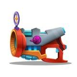 Retro artificiere dello spazio del fumetto, pistola di raggio, arma laser royalty illustrazione gratis