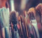 Retro Artists Brushes Stock Photography