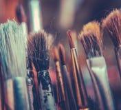 Retro Artists Brushes Stock Photography