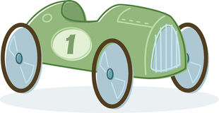 Retro- Artspielzeug-Rennwagenabbildung Stockfotos