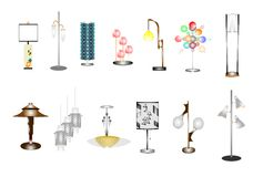Retro assorted household lamps Stock Photography
