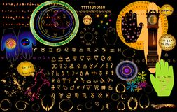 Retro astrology. Elements done in vector Royalty Free Stock Photography