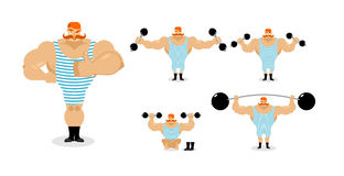 Retro athlete set poses. Ancient bodybuilder with red mustache e Royalty Free Stock Image