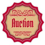Retro AUCTION magenta badge. Illustration concept image Stock Images