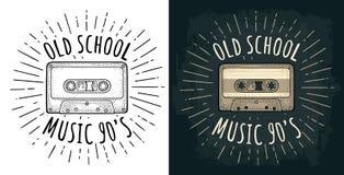 Retro audio cassette. Vintage vector black engraving illustration. Retro audio cassette with ray. Vintage vector black engraving illustration for poster, web vector illustration
