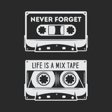 Retro audio cassette t-shirt design. Vector vintage illustration. Retro audio cassette t-shirt design. Never forget quote. Life is a mix tape quote. Old school stock illustration
