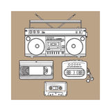 Retro audio cassette, tape recorder, music player, videotape from 90s Royalty Free Stock Images