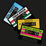 Retro Audio Cassette Tapes. Illustration of Retro Audio Cassette Tape Isolated on Black Background royalty free illustration
