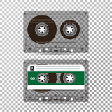 Retro Audio Cassette Vector. Realistic Vector Cassette Isolated On Transparent Background stock illustration
