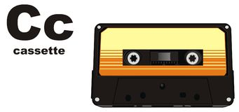 Cassette and abc. Retro audio cassette with word cassette and letters c Vector Illustration