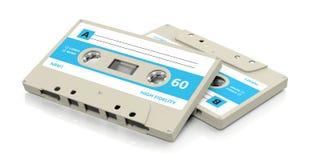 Retro audio nastri a cassetta con l'etichetta blu isolata su fondo bianco illustrazione 3D Illustrazione Vettoriale