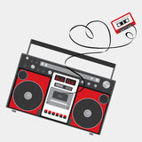 Retro audio player in a flat style. Music. Royalty Free Stock Photos