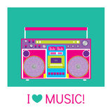 Retro audio player in a flat style. Music. Stock Image