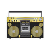 Retro audio player in a flat style. Vector illustration for a card or poster, print on clothes. Music. Stock Images