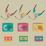 Retro audio players, tapes, headphones Royalty Free Stock Photos
