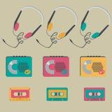 Retro audio players, tapes, headphones Royalty Free Stock Photos
