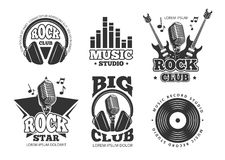 Retro audio record, studio sound vector labels, badges, logos, emblems Stock Image