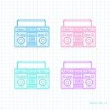 Retro audio set .Painted tape recorder. Set of retro tape recorders .Music technology, illustration ,vector Stock Photos