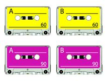 Retro audio tapes against white Royalty Free Stock Photo