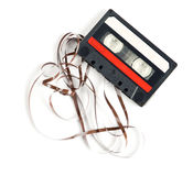 Retro audiocassette isolated on white stock photography