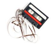 Retro audiocassette som isoleras på vit Arkivbild